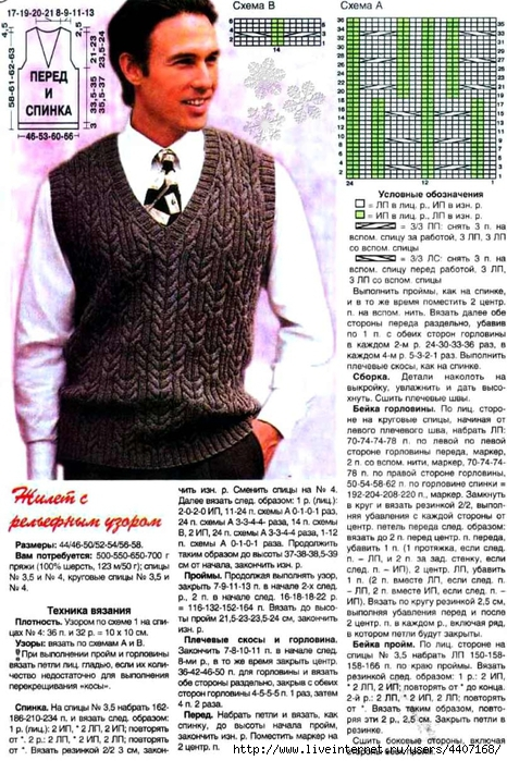 Узоры вязания мужчинам