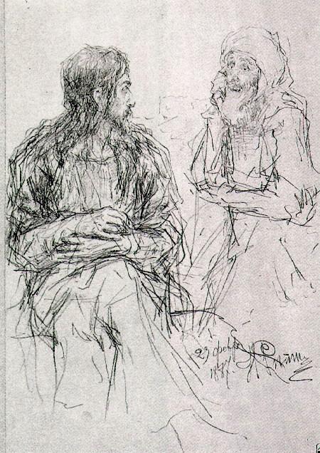 Репин И.Е. Христос и Никодим 1887 (450x636, 141Kb)