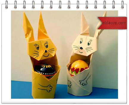 Подставка заяц для писанки в технике оригами