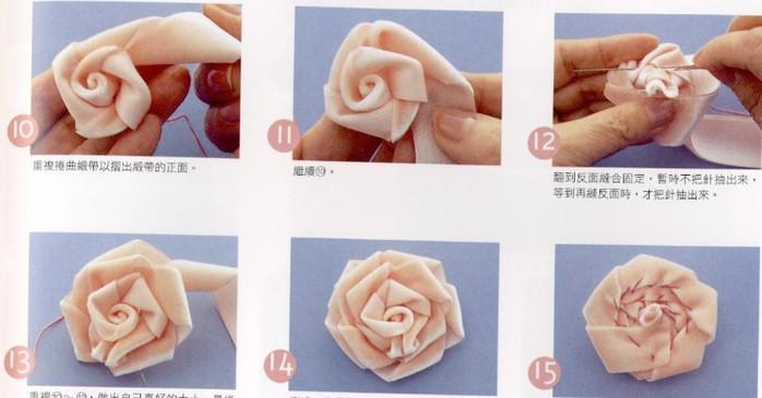 Цветок из атласной ленты своими руками на платье 18