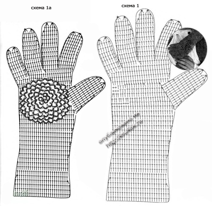Перчатки вязанные крючком