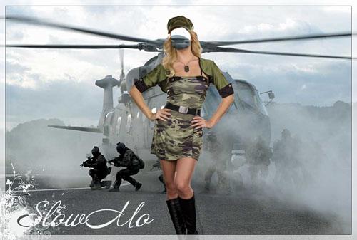 SlowMo, Pphotoshop, Templates for photoshop, Psd, Psd-исходники, Наряды, Костюмы, Шаблоны, Для фотошопа, Для фотомонтажа, Фотошаблоны, Фотомонтаж, Девушка, Солдатская Форма, Вертолет, Бойцы, Soldier, helicopter, Copter, Landing/1334930395_Girl_soldier (500x337, 59Kb)