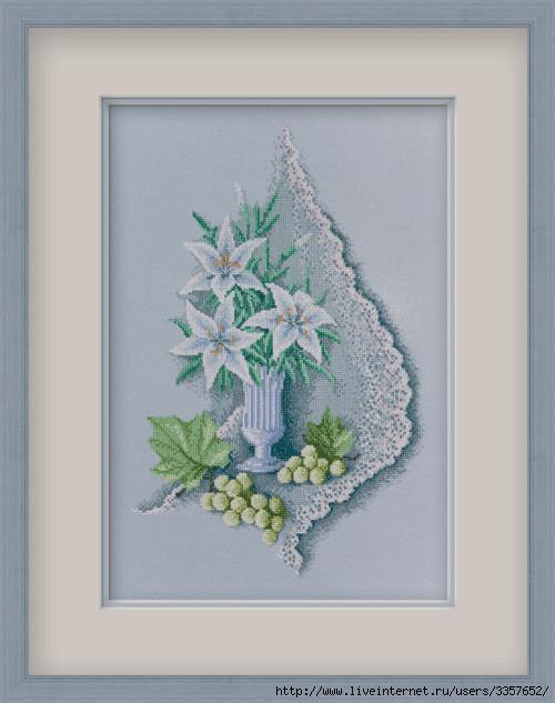 """Вышивка """"Белые лилии"""""""
