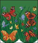 Cross Stitch - Схемы для вышивки /Насекомые/Бабочки/Бабочки 02 - схема для вышивки - бабочки в траве.