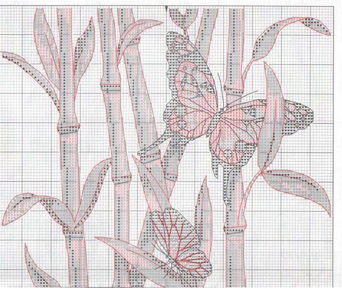 вышивка бабочки бамбук