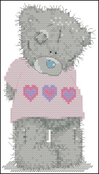 Описание: Схема для вышвики крестом - Застенчивый Мишка в Формате xsd.  0. Альбом. вышивки.  Мишки Teddy.