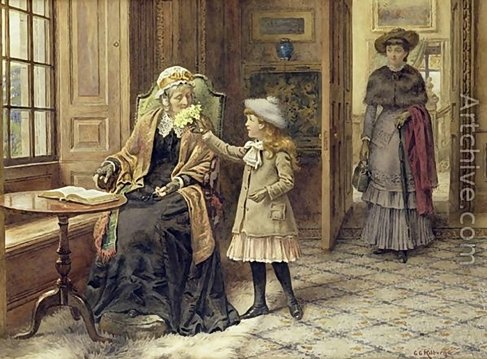 George Goodwin Kilburne.Posy for Grandma (700x515, 307Kb)