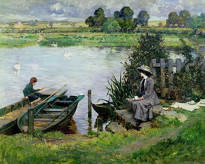 Albert Chevallier Tayler-The_Thames_at_Benson_1912 (700x562, 365Kb)
