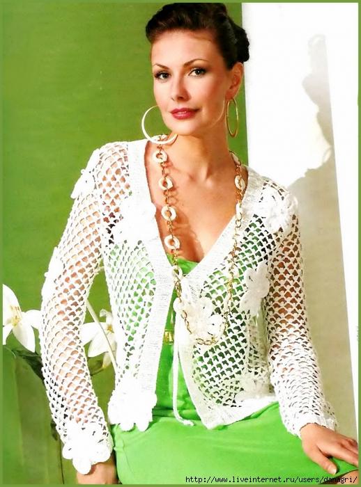 Схемы вязания крючком: 2 Белых Жакета Крючком ФОТО #2.