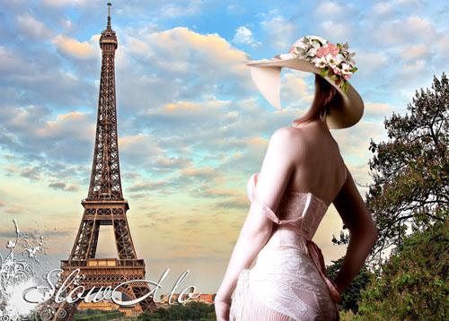 SlowMo, Photoshop, Templates, Costumes, PSD, Исходники, Шаблоны, Костюмы, Наряды, Фотомонтаж, Фотошаблоны, Фотокостюмы, Эйфелева, Башня, Девушка, Шляпка, Париж, Eiffel, Tower, Girl, Paris, Cap, Head, Hat, Головной убор, Women's/1335638755_Girl_Eiffel_Tower (500x358, 84Kb)