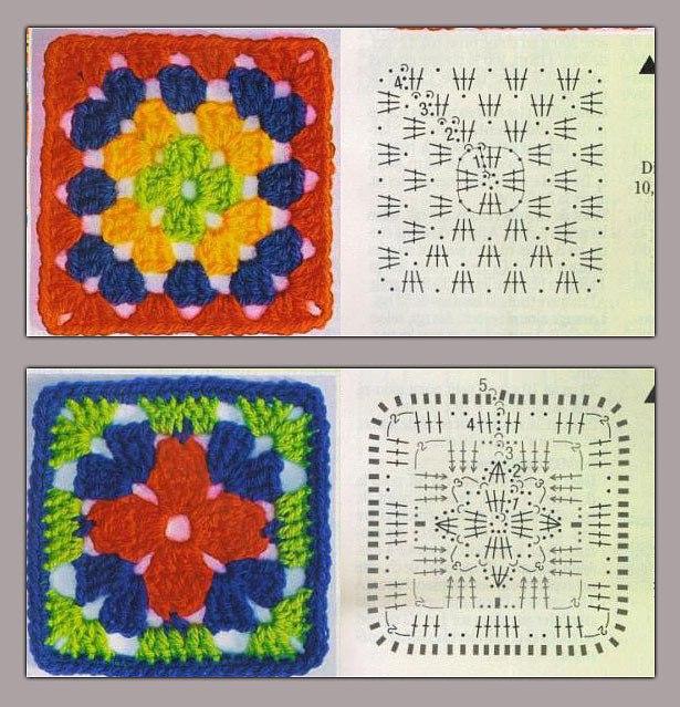 Вязание крючком для начинающих квадрат в квадрате 972