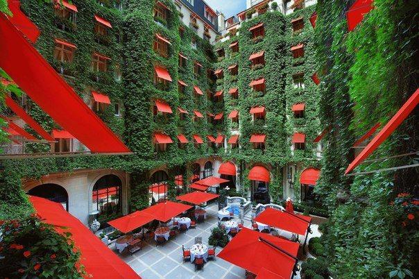 Дворик роскошного отеля Plaza Athénée, расположенный в историческом центре Парижа на авеню Монтень (604x402, 92Kb)