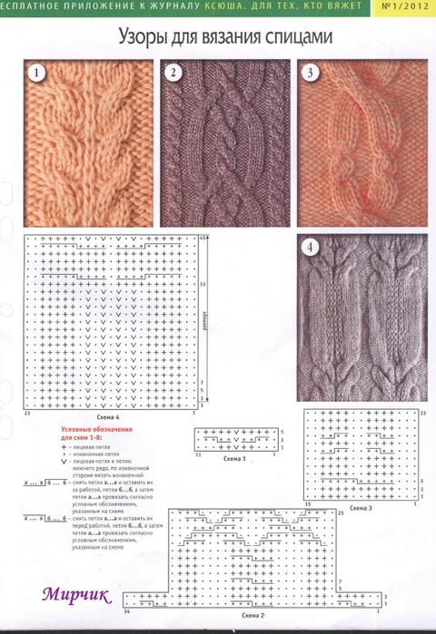 Узор для вязания спицами с описанием и схемами 835