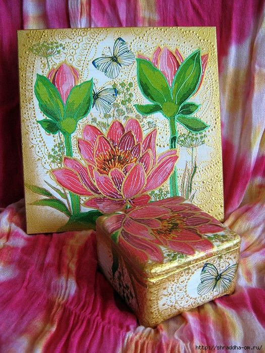 набор Розовый Лотос, роспись акрилом, автор Shraddha (1) (525x700, 419Kb)