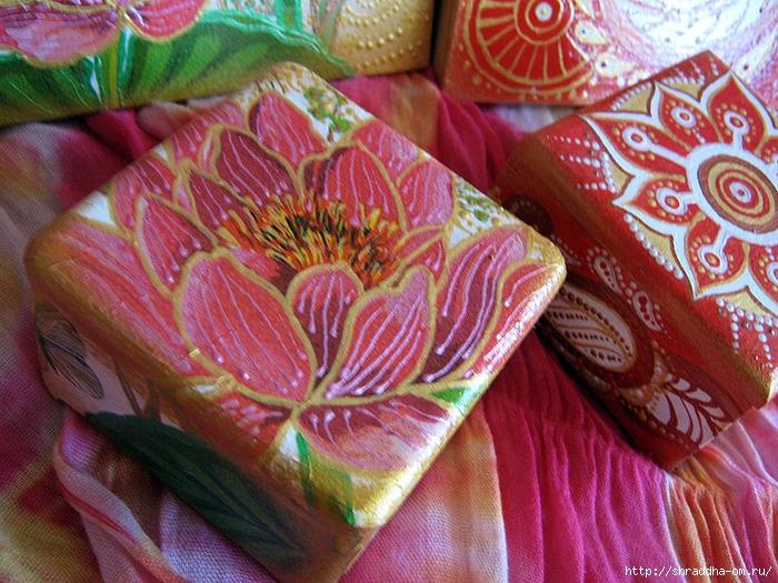 наборы Красная карамель и Розовый лотос, акрил, автор Shraddha (5) (700x525, 355Kb)