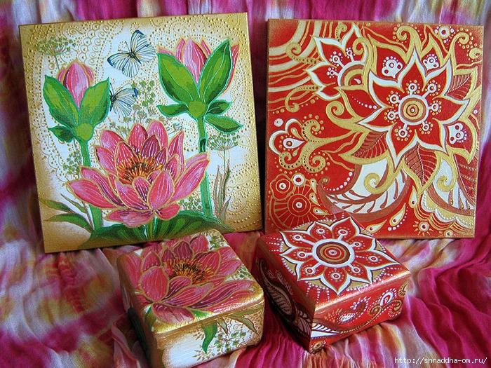 наборы Красная карамель и Розовый лотос, акрил, автор Shraddha (8) (700x525, 469Kb)