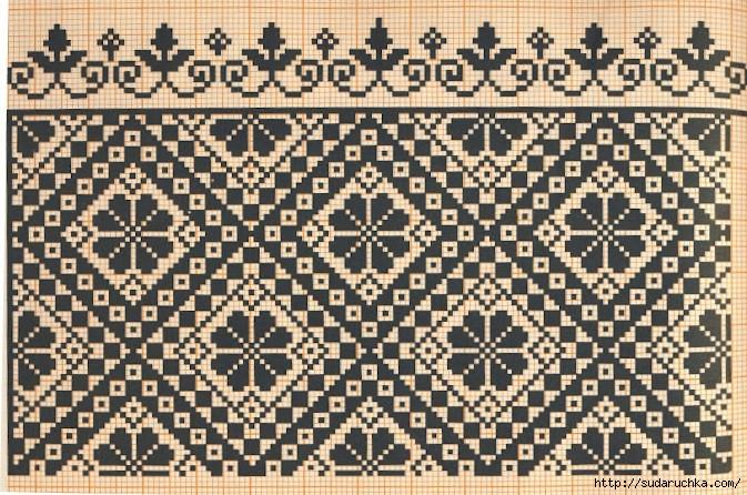 Монохромные узоры вышивки крестом