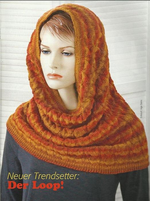 Шапка-шарф и перчатки (вязание