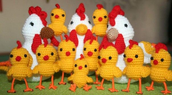 Цыплята связанные крючком