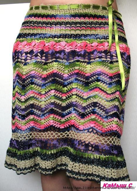 Цветная юбка зигзагами. Схемы
