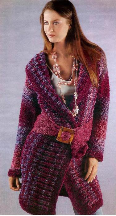 теплое пальто крючком(или