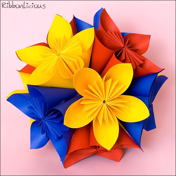Кусудама. 3D оригами цветок.