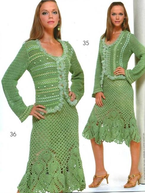 Эффектная зеленая юбка с жакетом