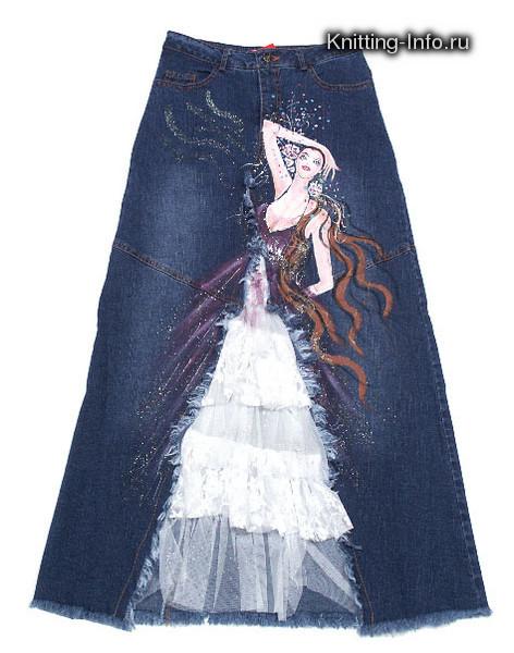 юбка из джинс самому сшить - Выкройка.