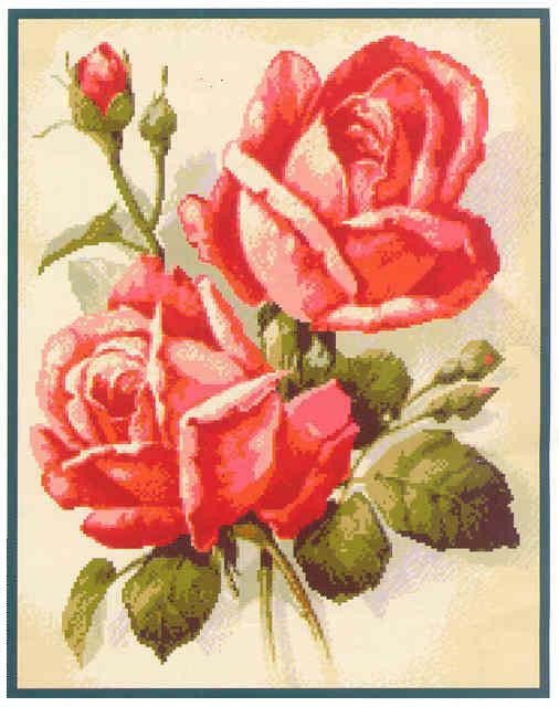8 схем. Цветы. Вышивка крестом