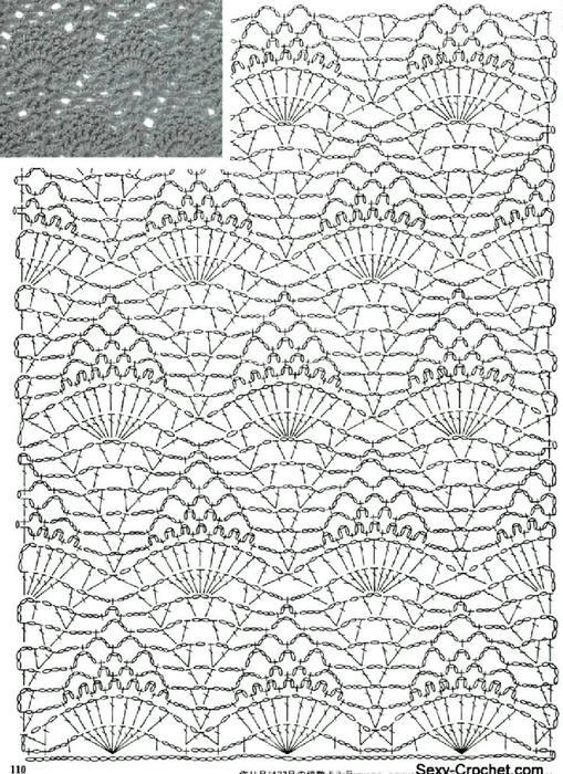 Красивый узор для юбки крючком 2