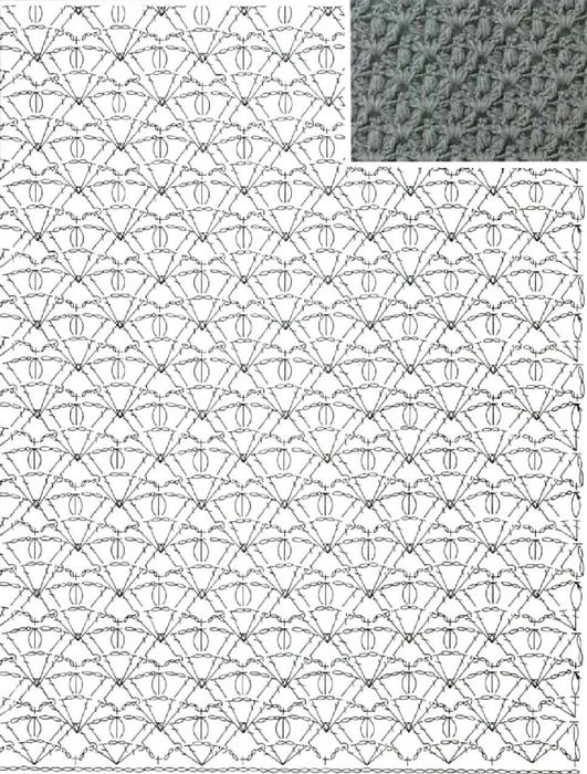 Красивый узор для юбки крючком 1