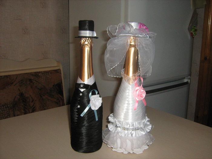 Оформление свадебных бутылок своими руками мастер класс