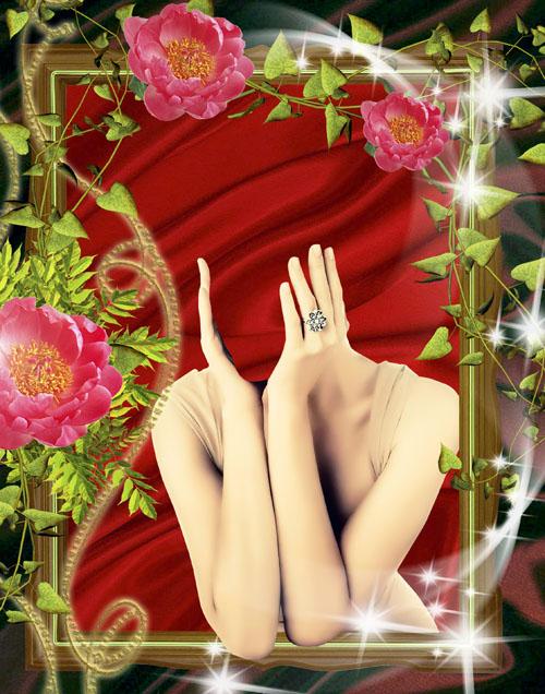 Женский шаблон для фотошопа - Женский портрет в обрамлении очень красивой цветочной рамки/1336928392_PSDCostume_Flowers_Portret (500x636, 136Kb)