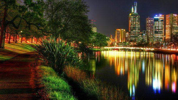 Огни и краски ночного Мельбурна (604x340, 59Kb)