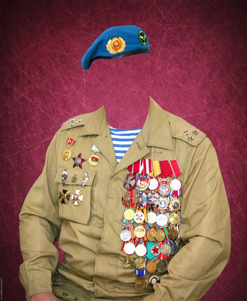 Мужской шаблон для фотошопа в формате PSD - Военная форма полковника в голубом берете увешанного боевыми наградами, орденами и медалями/1336986646_PSDCostume_Polkovnik_Veteran (500x609, 104Kb)