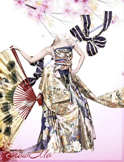 SlowMo, Photoshop, Templates, Costumes, PSD, Исходники, Шаблоны, Костюмы, Наряды, Фотомонтаж, Фотошаблоны, Кимоно, Китайское, Девушка, Веер, Бант, Сакура, Girl, Kimono, China, Chinese, Fan, Bow, Китайский/1337018553_Kimono (500x652, 129Kb)
