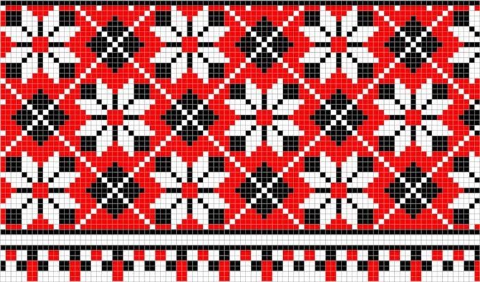 164. Схеми вишивки хрестиком.  Рослинний орнамент.