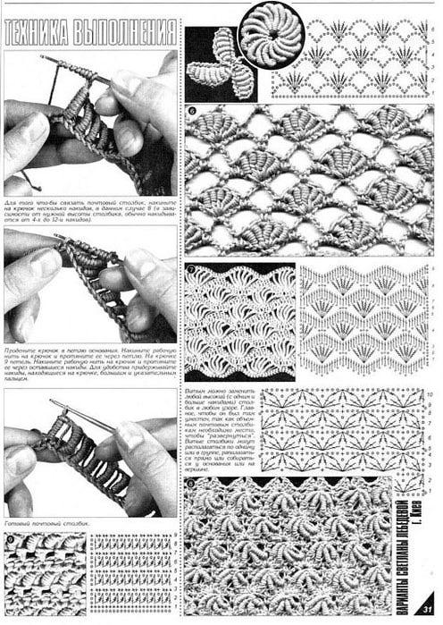 Схемы вязания витых столбиков