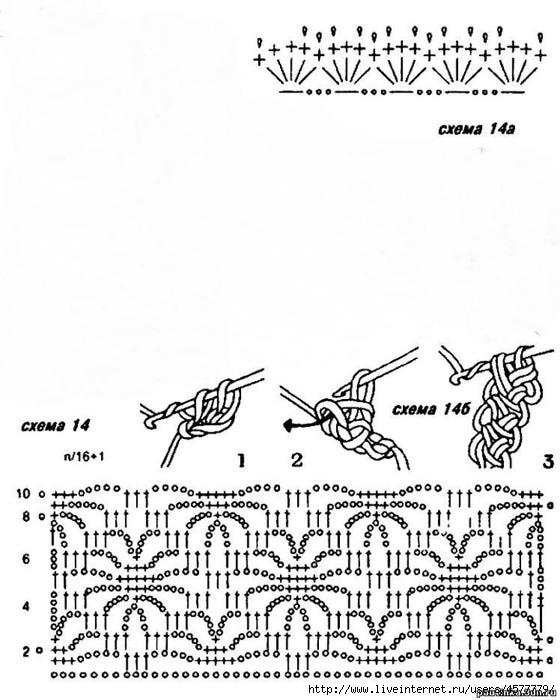 Схема узора жучки крючком
