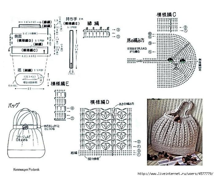 Вязаная сумка со схемами