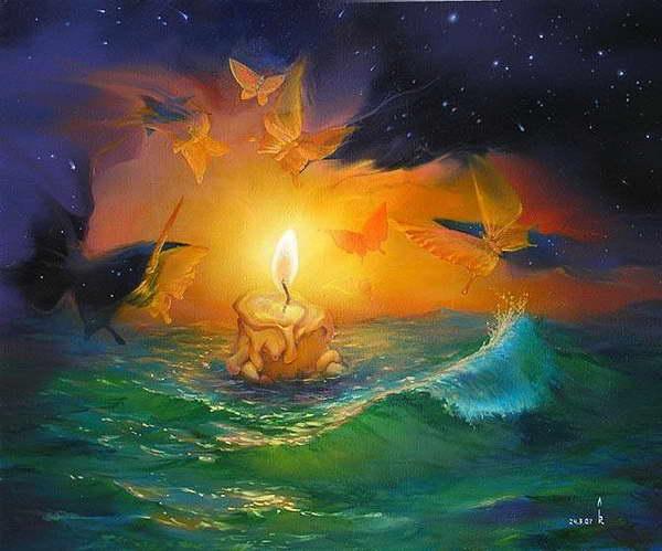 свеча горит бабочки летают вокруг (600x499, 51Kb)