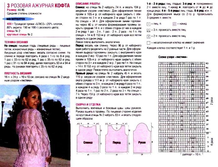 Розовая ажурная кофта