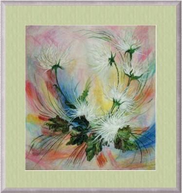 Картины из шерсти по стеклу