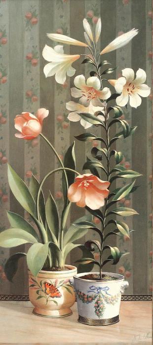 """Схема вышивки  """"Цветы в горшках """": таблица цветов."""