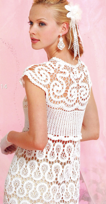 crochet charming undulations model for sweater and dress