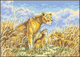 Львица с малышами.  Схемы.  Животные.