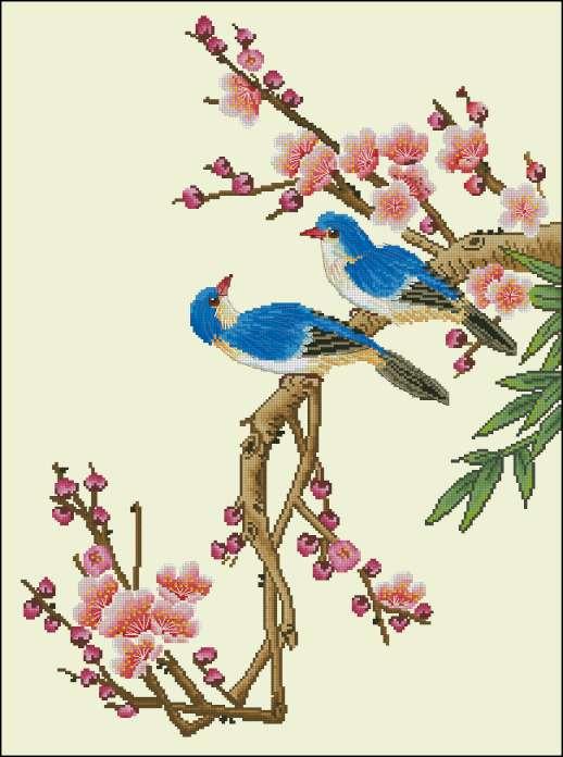 Дата. Птицы. Схема вышивки