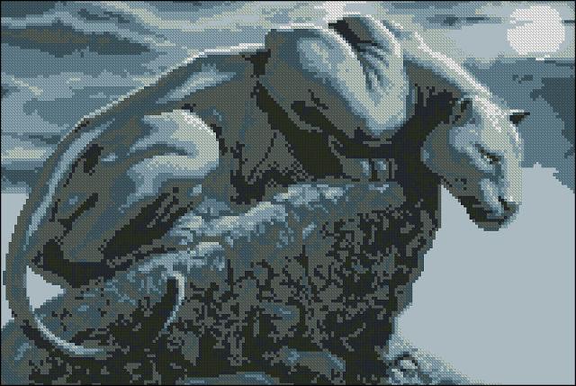 Схема вышивка крестом пантера.