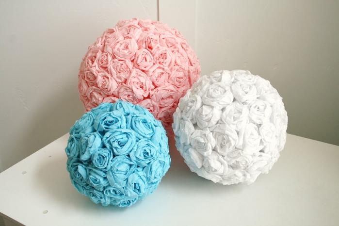 Цветочные шары из гофрированной бумаги своими руками