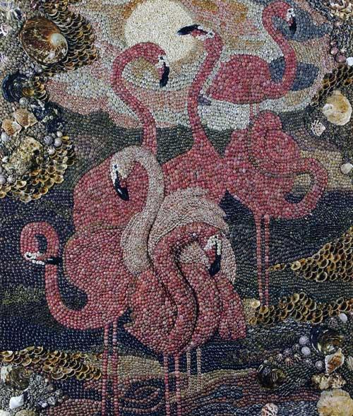 """Панно  """"Фламинго """" из ракушек."""